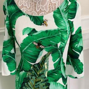 D&G  Banana  leaf-print embellished dress